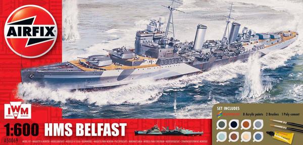 A50069 1/600 HMS BELFAST GIFT SET PLASTIC KIT