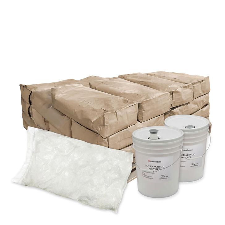 Qty 28 bags per pallet / 50 lbs per bag  Qty 2 (5 gal) 40 lb pails of Liquid Acrylic Polymer Polymer 80 lbs Qty 1 bag of 19mm Alkali Resistant Glass Fiber 44 lbs