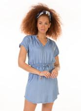DEX BLEACHED FRAYED HEM ELASTIC DRESS