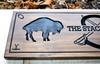 Family name sign with buffalo and custom logo  (CWD-411)