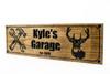 garage shop sign with deer head