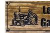 vintage tractor on a wooden farm sign