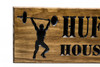 Home GYM Sign with guy lifting weights