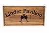 Poolside Pavilion sign with 2 wine glasses