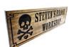 Skull and crossbones workshop sign, wooden garage sign, man cave sign