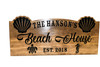 Beach House sign, beach decor, ocean theme, Family Sign, Wood Sign, seashell, sea turtle, sea horse-Anniversary Gift (CWD-741)