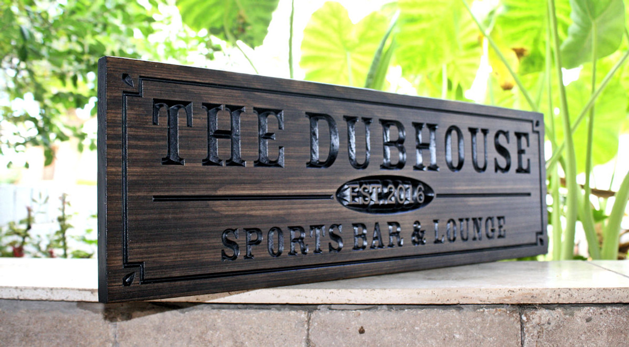personalized custom carved home bar sign