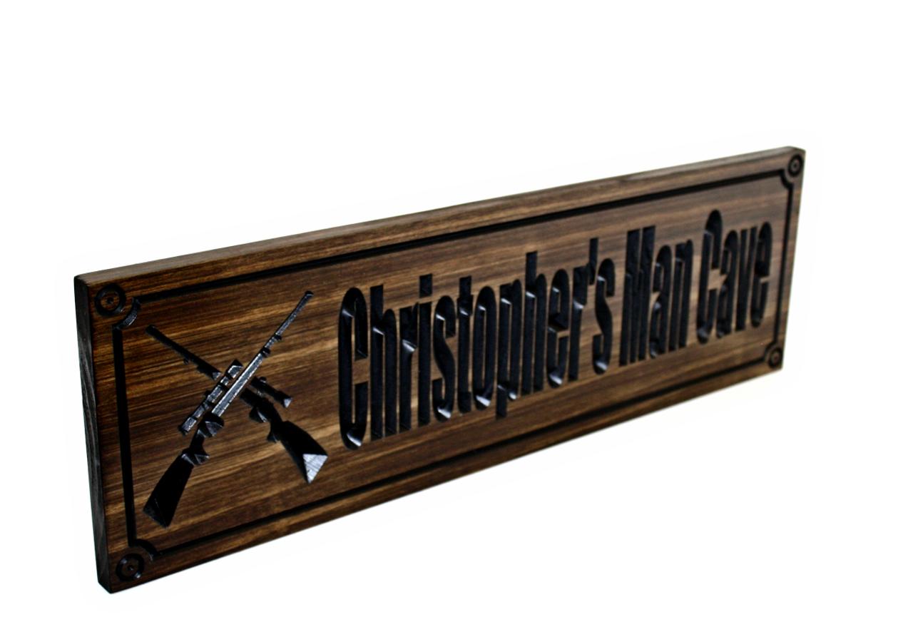 Gun room sign with crosses rifles