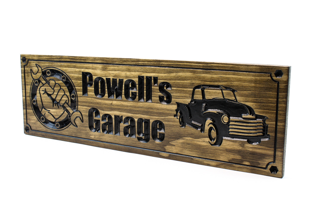 1a1a21198e0d2 Garage Sign | Garage shop sign for him with chevy truck (CWD-303)
