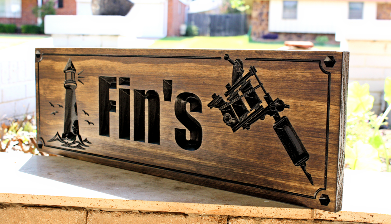 Family Name Sign with lighthouse and Tattoo machine