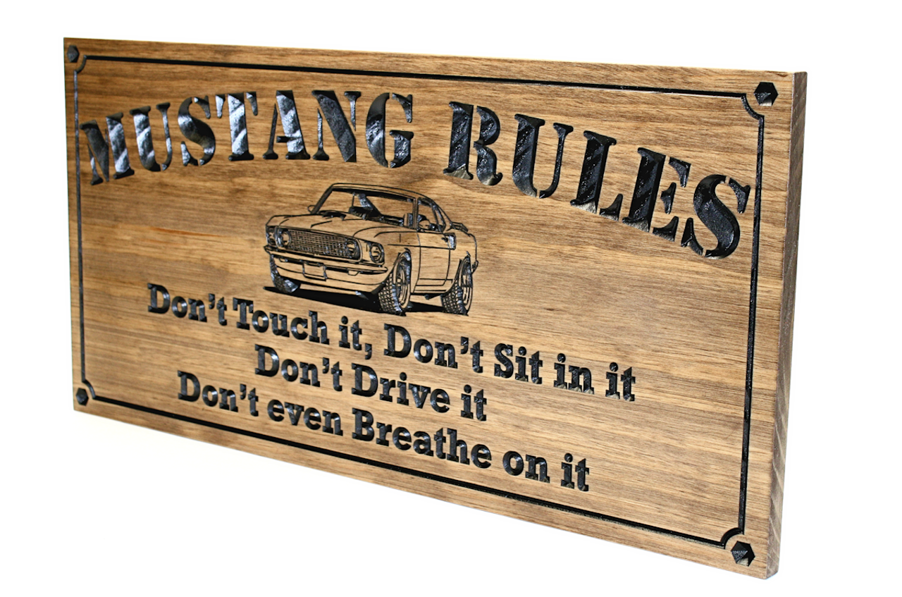 garage-rules-sign-with-ford-mustang