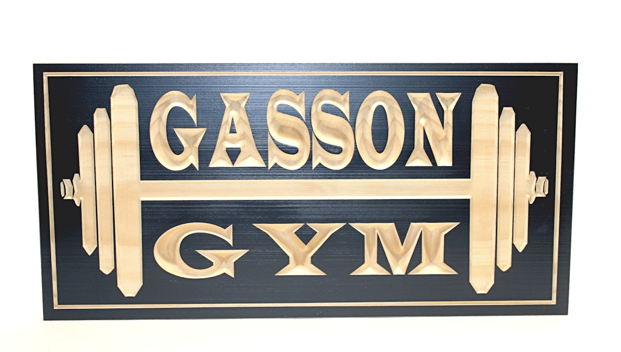 wooden gym sign