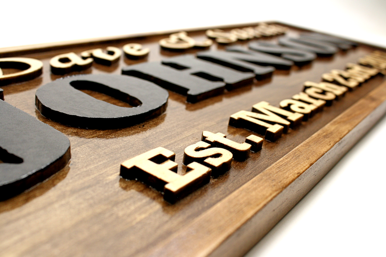 outdoor wooden family name signs