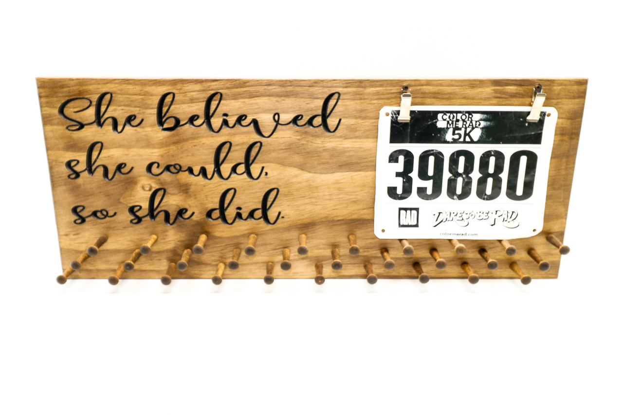 She believed she could so she did. Marathon Medal display 23x9-running medals and race bibs holder-running medals (CWD-691)