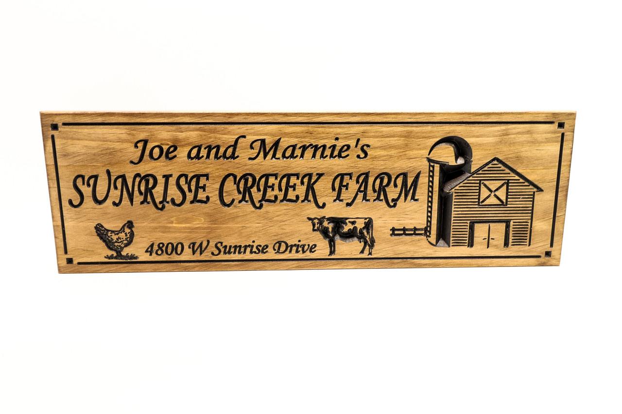 Farm-Ranch Sign with cow, chicken and a barn, farmhouse decor