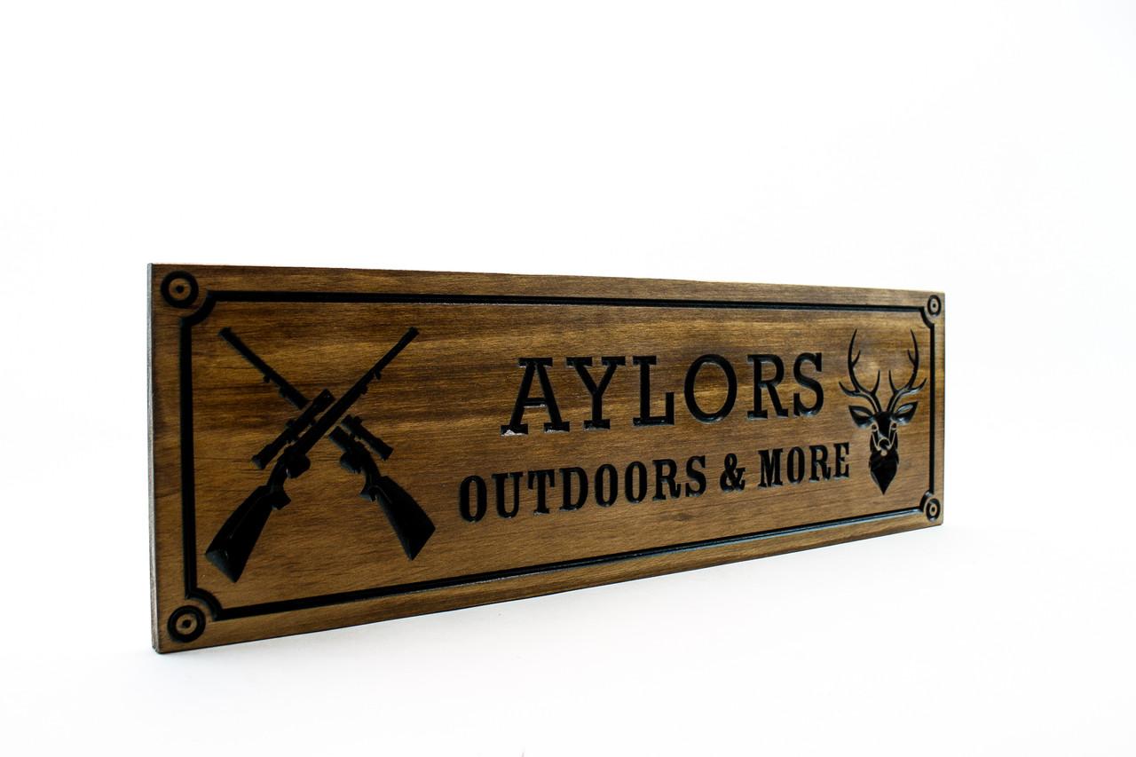 Hunting cabin sign, Hunter wood sign, Riffles and deer sign, Gun Room Sign,Man Cave Sign-Personalized Wood Sign-man cave sign (CWD-694)