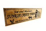 Farm-Ranch Sign with cow, chicken and a barn, farmhouse decor (CWD-695)