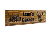 Farm-Ranch Sign with vintage tractor and deer head (CWD-629)