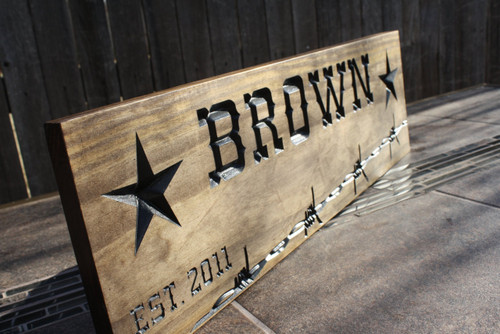 custom carved ranch sign