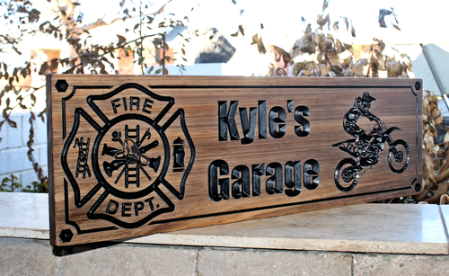 Firefighter Sign with dirtbike rider