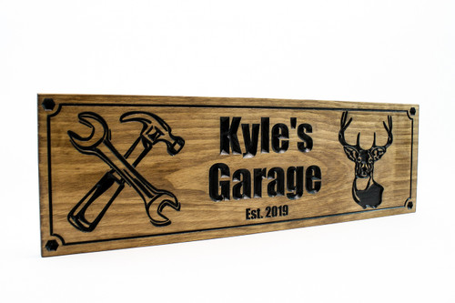 shop sign with hammer and wrench