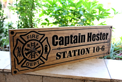 Firefighter Sign with hydrant and water hose