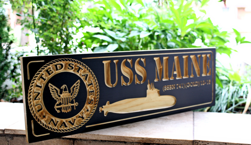 US Navy Submarine Plaque / Sign feat USS MAINE  (CWD-471)