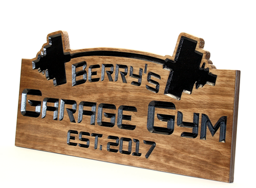 custom garage gym sign