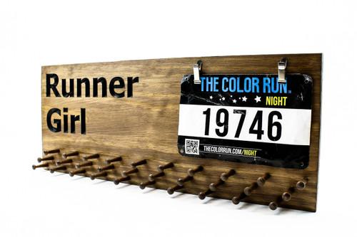 Marathon Medal display RUNNER GIRL-running medals and race bibs holder-running medals and race bibs hanger-Marathon(CWD-603)