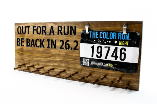 running medal display sign -bib holder sign