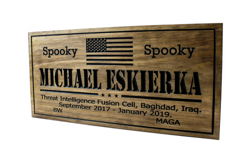 military plaque  with us flag