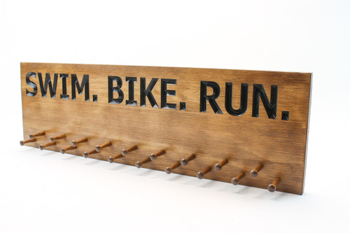 Triathlon SWIM-BIKE-RUN race medal display sign