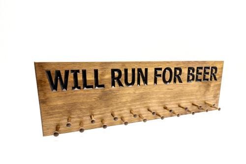 running medal holder will run for beer run display