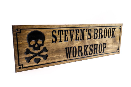 Skull and crossbones workshop sign, wooden garage sign, man cave sign