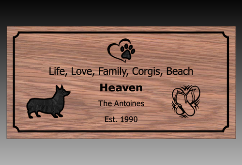 "Corgi/Beach House Sign 23"" x11"""
