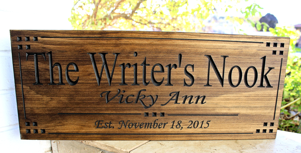 The writers nook  custom sign