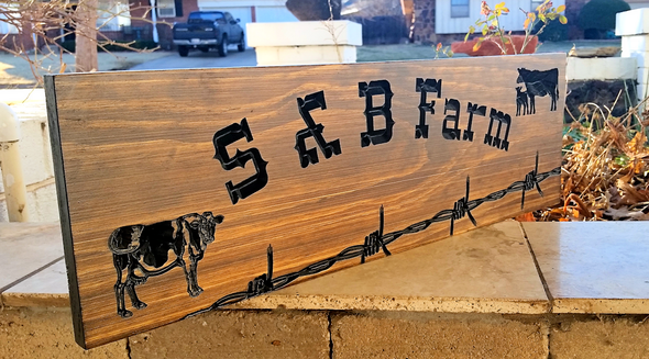 wooden farm sign