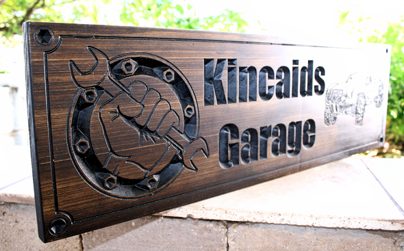 Garage Sign with off road car