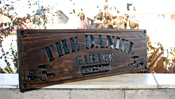 Garage Sign with 2 FORD pickup trucks