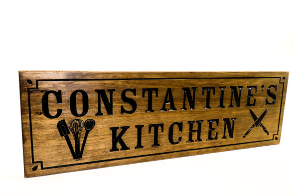 wooden custom kitchen sign