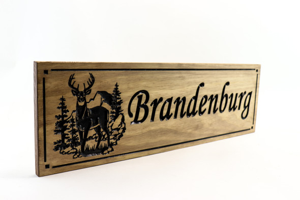 Family name sign, hunting lodge, deer hunting, buck, mountain cabin