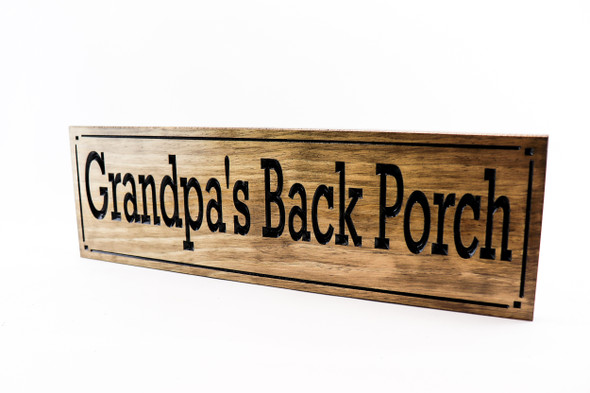 back porch wooden patio backyard sign