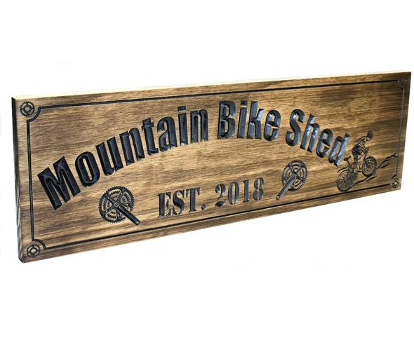mountain biker sign
