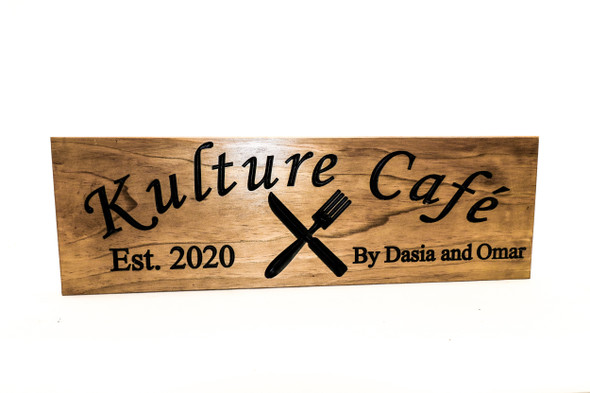 Restaurant wooden Sign- Sign with fork and knife-wooden kitchen sign