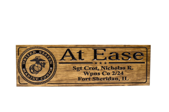 Military Sign-US Army-Navy Sign-Marines Sign-Retirement Gift-Personalized Wood Sign-Veterans Day Gift-At Ease