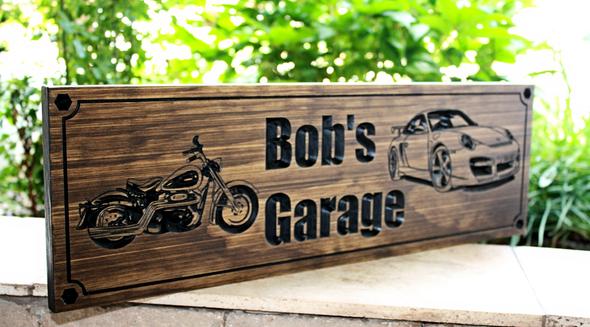Garage Sign with Harley and Porsche