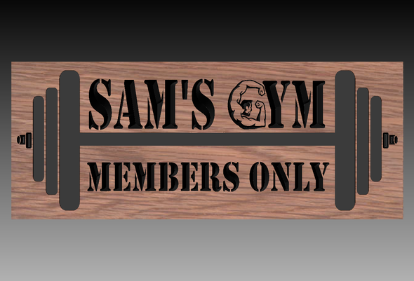 Home GYM Sign with barbells (CWD-518)