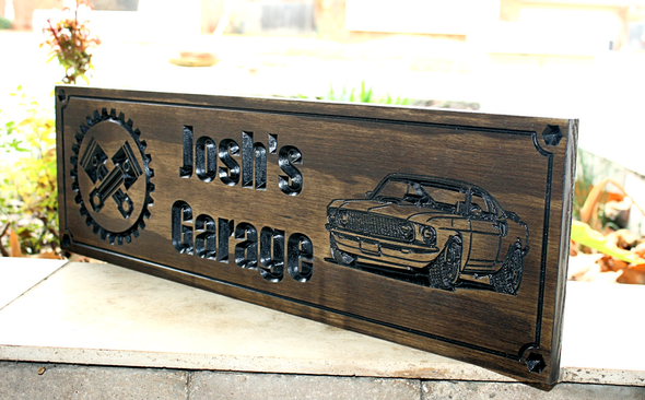 custom carved garage sign with ford mustang
