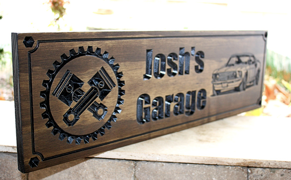 custom carved garage sign with gears and pistons