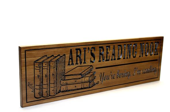 book reading nook corner wooden sign